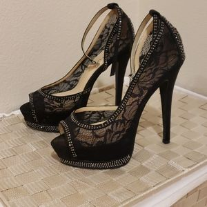Black lacy high heels
